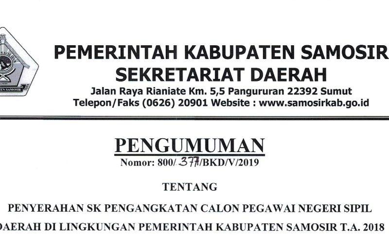 PENGUMUMAN JADWAL PENYERAHAAN SK. CPNS. T.A. 2018