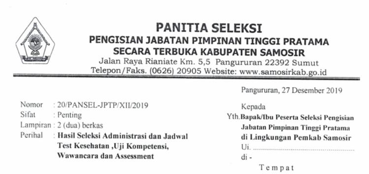 HASIL SELEKSI ADMINISTRASI DAN JADWAL TEST PANSEL JABATAN  PIMPINAN TINGGI PRATAMA PEMKAB. SAMOSIR