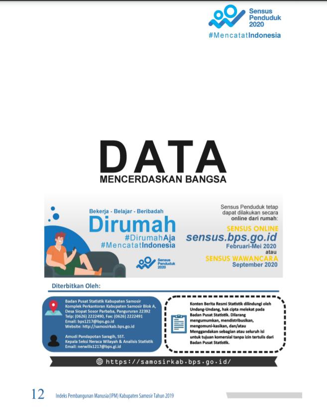 Indeks Pembangunan Manusia Ipm Kabupaten Samosir Tahun 2019 Kabupaten Samosir